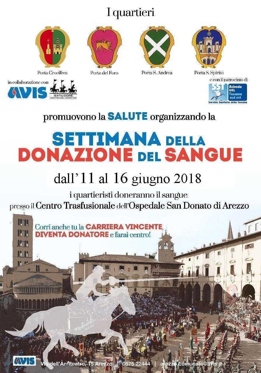 Dal 11 al 16 giugno 2018 donazioni per la settimana della salute insieme ai Quartieri della Giostra del Saracino